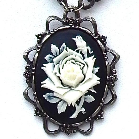130ecaf6fcf GASOLINE GLAMOUR Jewelry - GASOLINE GLAMOUR BLACK & WHITE ROSE CAMEO  NECKLACE